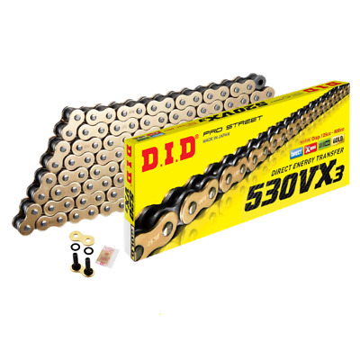 DID Gold Heavy Duty X-Ring Motorcycle Chain 530VXGB Pitch 118 Link