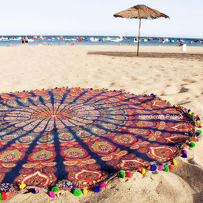 Indian Round Peacock Mandala Tapestry Throw Blanket Beach Yoga Mat Rug Hippie