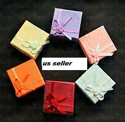 wholesale 10 pcs Jewelry Paper Ring Earring color Gift Box Case