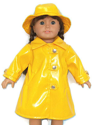 "Yellow Raincoat Slicker & Hat for 18"" American Girl Doll Clothes"