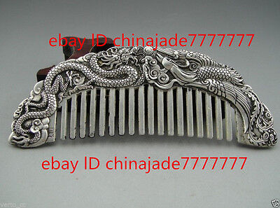 Chinese Rare Collectibles Old Handwork Tibet - Silver dragon and phoenix Comb