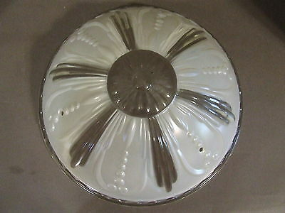 Vintage Art Deco Clear & White Opalescent Glass Lamp Shade 3 Hole Ceiling 11""