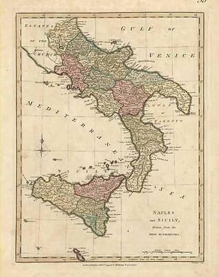 ITALY: Naples with Sicilly : Beautiful Antique Map of by Robert Wilkinson c1794