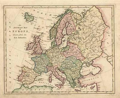 Europe: Beautiful Antique Map of by Robert Wilkinson c1794