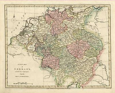 Germany: Beautiful Antique Map of by Robert Wilkinson c1794