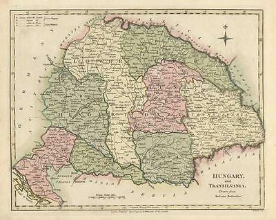 Hungary:(Transilvania)  Beautiful Antique Map of by Robert Wilkinson c1794