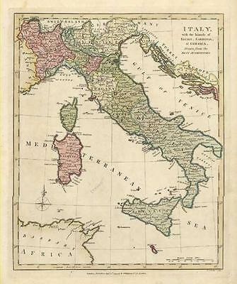 ITALY: Beautiful Antique Map of by Robert Wilkinson c1794