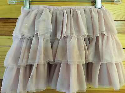 *MINI BODEN* Girls Lined Tiered Mesh Tulle Dusty Pink Skirt Size 3-4Y
