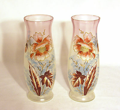 Pair of Antique Hand Painted Gilded Floral Vases