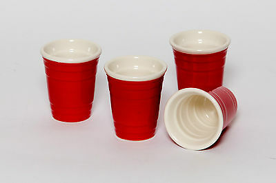 Mini Red Ceramic Shot Glass Set -  Novelty Shooters perfect for parties