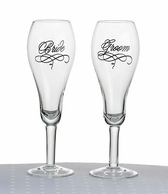 Pair of Bride & Groom Toasting Wedding Party Wine Champagne Flutes Glasses