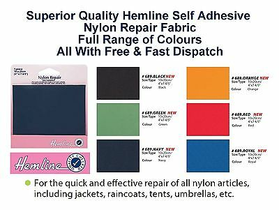 Hemline Nylon Self Adhesive Waterproof Repair Patch Coat Tent Kite Bag Outdoor