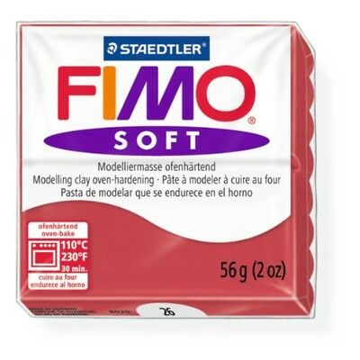 Staedtler Fimo Soft Cherry Red (26) Oven Bake Modelling Clay Moulding Block 56g
