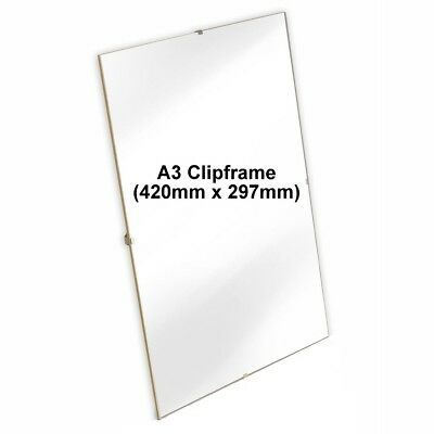 A3 Clip Frame Picture Photo Frames A3 Frameless Poster Acrylic (420mm x 297mm)