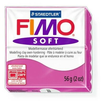 Staedtler Fimo Soft Raspberry (22) Oven Bake Modelling Clay Moulding Block 56g