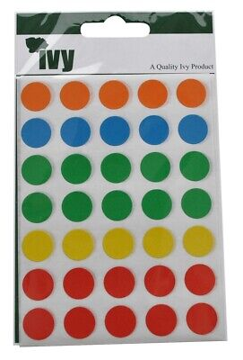Ivy 13mm Colour Round Dot Spot Self Adhesive Sticker Labels (140 Stickers)