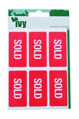 SOLD Stickers 25mm x 50mm Self Adhesive Labels Sticky (42 Stickers) Ivy