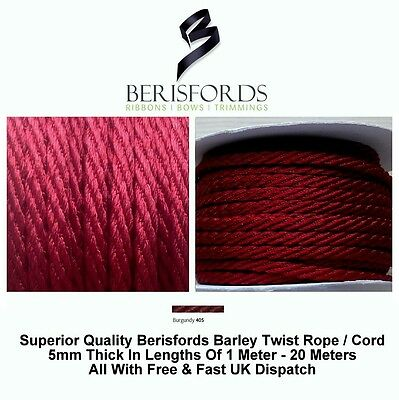 Bakers Twine String Cord Berisfords Width 3mm 6 Colours Listed Free P/&P