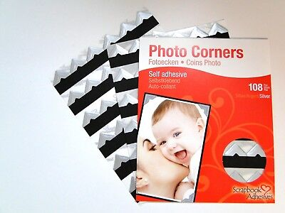 Silver Colour Photo Corners Sticky Self Adhesive Album Acid Free 108 Pieces