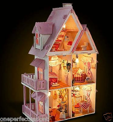 Huge DIY Handcraft Miniature Dolls House - Wooden Dollhouse & Lights - Fast Post