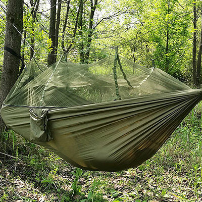 Camping Hammock with Mosquito Nets Parachute Cloth Anti-mosquito Army Green