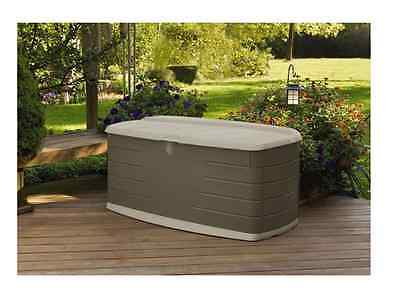 Rubbermaid 90 Gallon Large Deck Patio Pool Storage Box With Seat, Yard  Tools New