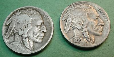 1913-D Type 1 Fine   Buffalo Nickel & 1936-S  F/vf  Bonus Coin<>Pf395