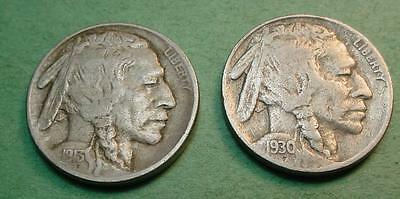1913-P Type 11  Xf   Buffalo Nickel & 1930-S F/vf  Bonus Coin<>Pf415