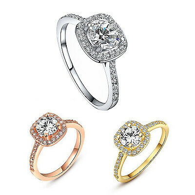 Women Crystal Engagement Wedding Jewelry Ring HY