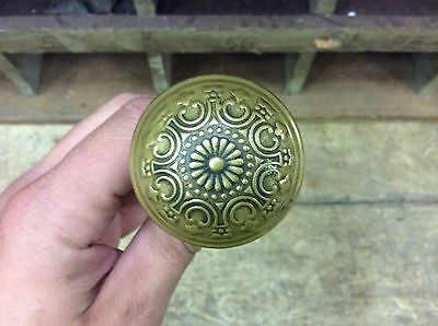 GORGEOUS DESIGN!! antique Brass door knobs-LOVELY PATINA-restore/repurpose-3 • CAD $82.20