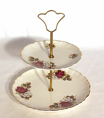Vintage James Kent Old Foley 2 Tier Cake Plate Stand With Red Roses