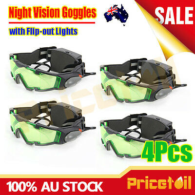 4Pcs Adjustable LED Night Vision Glass Goggles with Filp-out Light Windproof AU