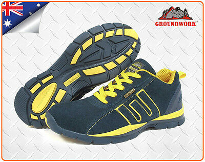 Steel Cap Safety Joggers, Safety Work Boots - Navy/Yellow