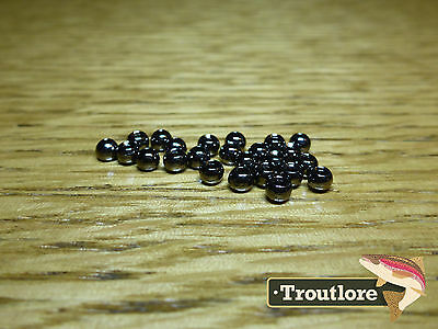 """25 PIECES TUNGSTEN BEAD HEADS BLACK CHROME 1/8"""" 3.2mm - NEW FLY TYING MATERIALS"""