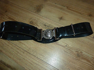 Dieu Et Mon Droit Silver Metal Buckle With Black Patent Belt British Army Issue