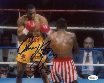 THOMAS HITMAN HEARNS Signed 8x10 Photo 5 JSA Witness COA Private Signing