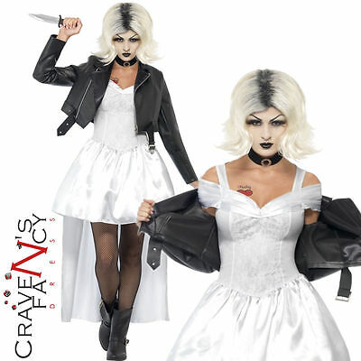 Ladies Bride of Chucky Costume Womens 80s Halloween Adult Fancy Dress Outfit New