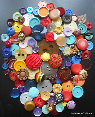 100pc VINTAGE ANTIQUE BUTTON LOT COLLECTIBLES SEWING PROJECTS CRAFTING FRAMES