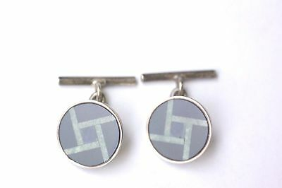 Vintage Mans Cufflinks Sterling Silver with Multistones Inlay AS/IS