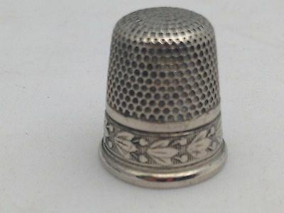 Thimble Sterling Silver Usa .sb.size 10 Bleeding Hearts Flower Design Heavy Nice