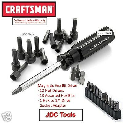 Craftsman Magnetic ScrewDriver w 12 pc Nut Driver 13 Hex Bits and 1 Socket Adap