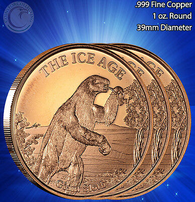 """Part of 5 ICE AGE set 3 Rounds /""""Giant Short Faced Bear/"""" Copper Round 1oz.999"""
