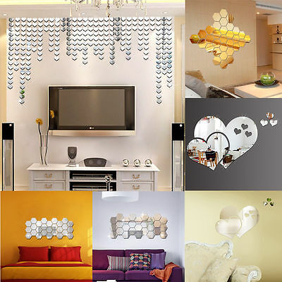 12pcs 3D Mirror/PVC Romantic Flower Art Decal Wall Sticker Home Room Decorations