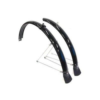 Flinger Bike Mudguard Plastic Front & Rear Fender Set, Suits 700c Bicycle - Blac