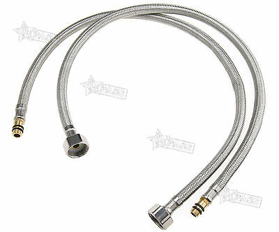 "New 2 x Braided Water Hose Pipe 60cm for Kitchen Faucets Taps 1/2"" BSP Fitting"