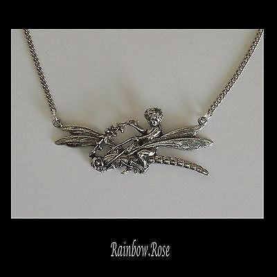 Chain Necklace #304 Pewter FAIRY on DRAGONFLY (55mm wide PENDANT)