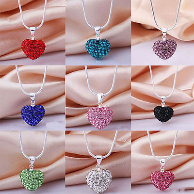 Women Fashion Crystal Heart Pendant Silver Plated Chain Choker Necklace Jewelry