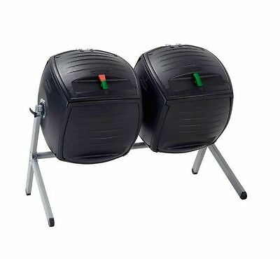 New 100 Gal. 6.7 cu. ft. Dual Bin HDPE Removable Large Lid Compost Tumbler