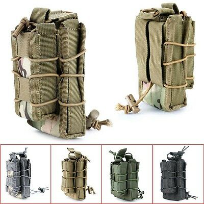 Tactical Military Open Double Rifle and Single Pistol Holster Magazine Pouch Bag