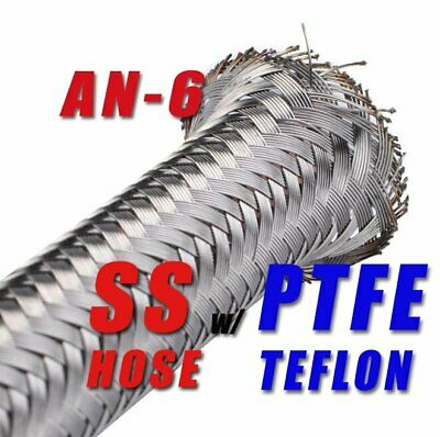 "-6 AN AN6 5/16"" Braided Stainless Steel PTFE Teflon Ethanol Fuel Line Hose (5FT)"